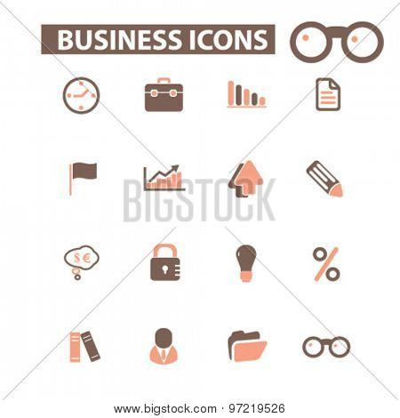 business, management, presentation isolated flat icons, signs, illustrations set, vector for web, application