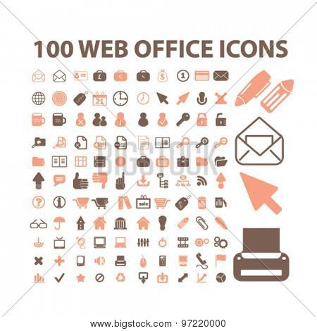 office, document, workplace isolated flat icons, signs, illustrations set, vector for web, application