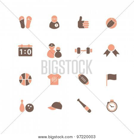 sport, games, fitness isolated flat icons, signs, illustrations set, vector for web, application