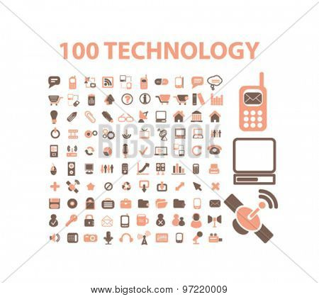 100 technology, communication, connection, phone isolated flat icons, signs, illustrations set, vector for web, application