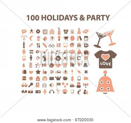 100 holidays, party, event isolated flat icons, signs, illustrations set, vector for web, application