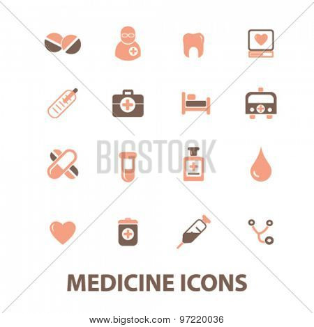 medicine, health care, doctor, hospital isolated flat icons, signs, illustrations set, vector for web, application