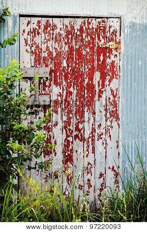 Peeling Red Door