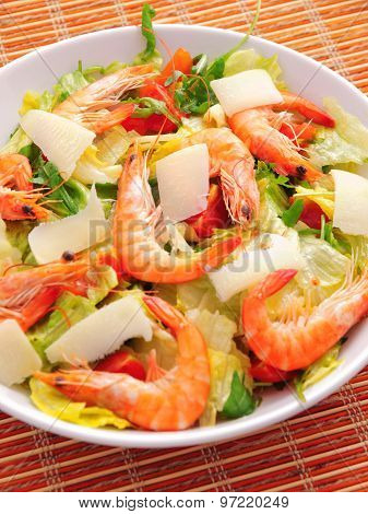 Salad With Shrimps And Parmesan Cheese