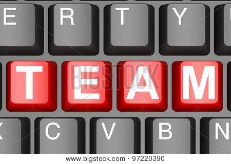 Team Button On Modern Computer Keyboard