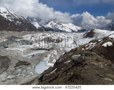 Frozen Lakes On The Ngozumba Glacier