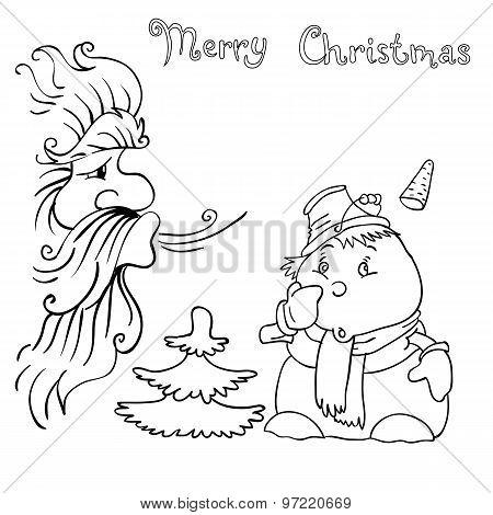 Santa Claus And Snowman Blows On