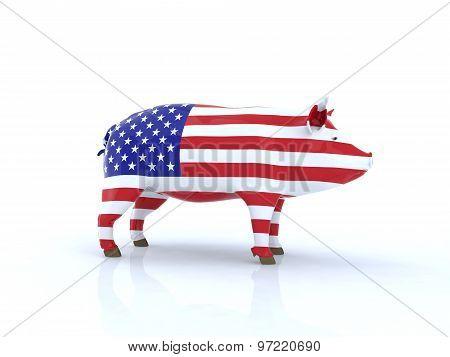 3D Pork American Flag