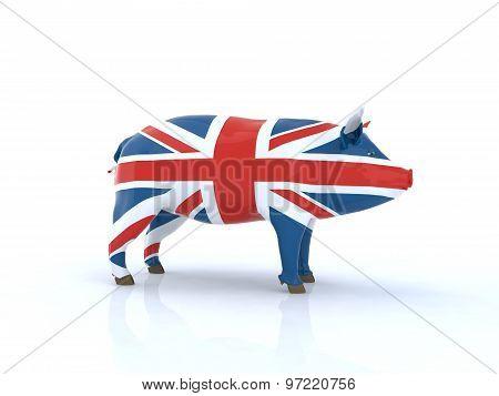 3D Pork English Flag Illustration