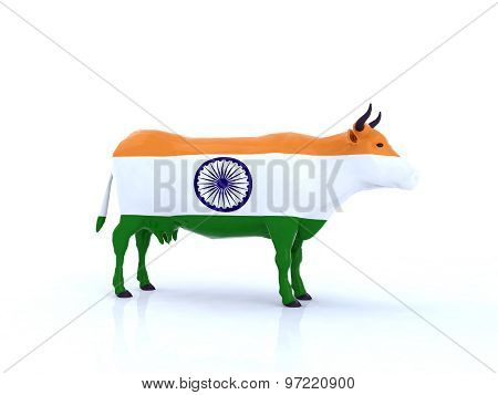 Indian Cow With Flag