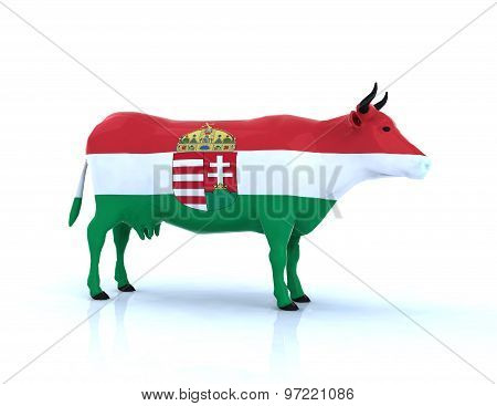 Hungarian Cow With Flag