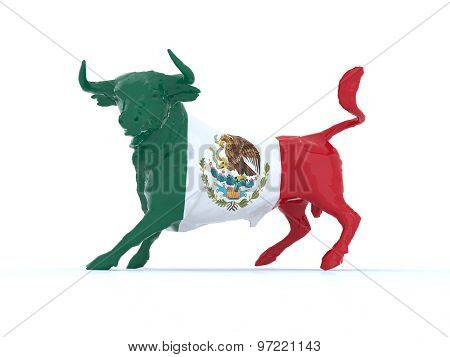 Mexican Bull With Flag
