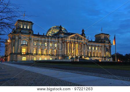 German Reichstag At Dusk