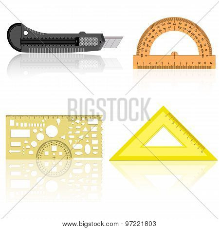 Stationery Knife, Ruler And Protractor