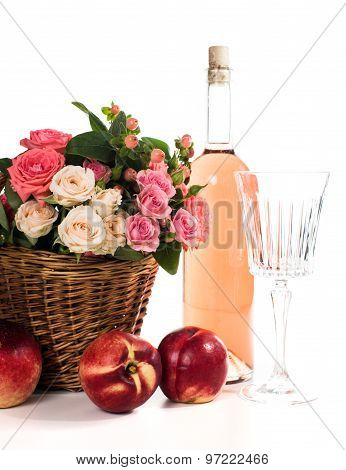 Fruits, wine and flowers