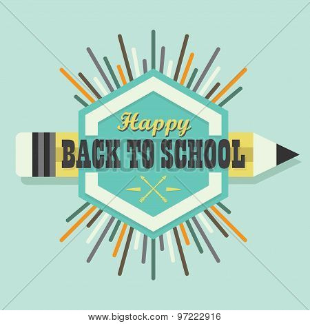 Happy Back To School colorful sun burst message