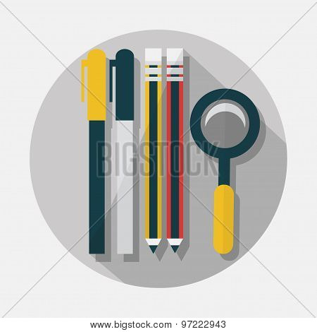 Pens pencils and magnifying glass icons with long shadow on gray background