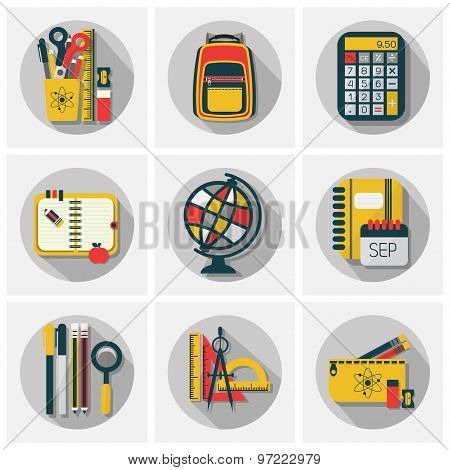 School stationery supply and accessory icons set with long shadow on gray background