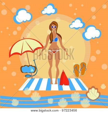 Beautiful Girl, Woman, Beach, Sunbathe, Swimsuit, Bikini, Beach Umbrella, Smile