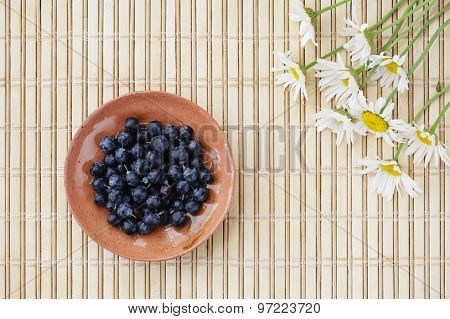 Blueberries and flowers