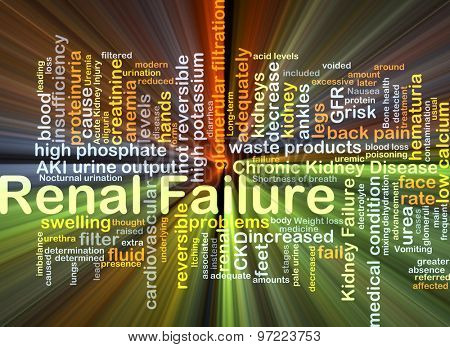 Background concept wordcloud illustration of renal failure glowing light
