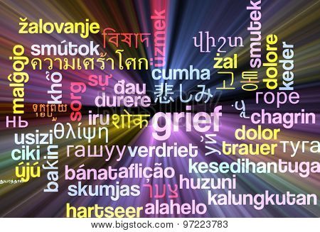 Background concept wordcloud multilanguage international many language illustration of grief glowing light