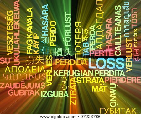 Background concept wordcloud multilanguage international many language illustration of loss glowing light