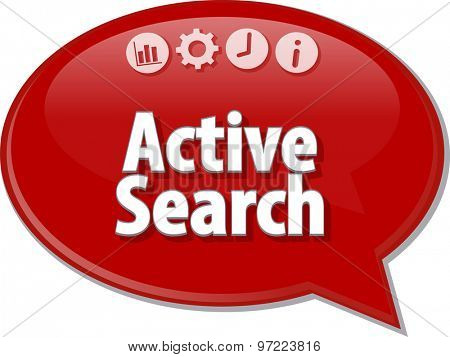 Speech bubble dialog illustration of business term saying Active search