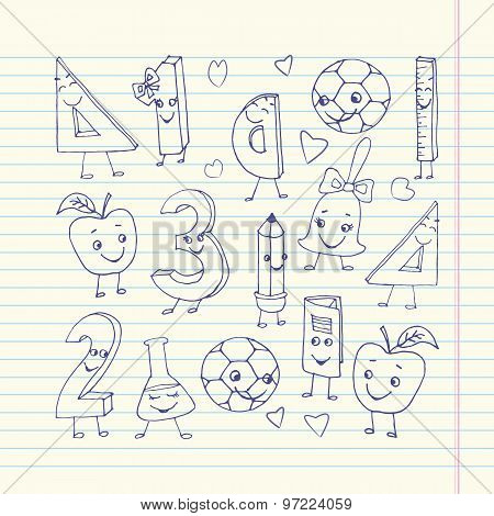 Hand Drawn Cute School Characters On A Sheet Of Exercise Book.