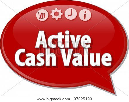 Speech bubble dialog illustration of business term saying Active cash value