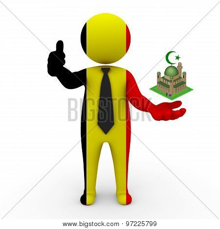 3d businessman people Belgium- Muslim mosque and Islam in Belgium