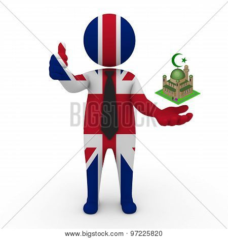 3d businessman people United Kingdom - Muslim mosque and Islam in United Kingdom