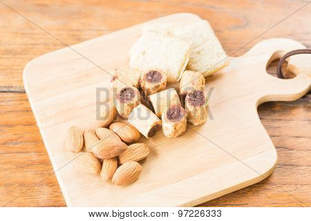 Savoury Snack On Wooden Dish