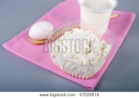 Curd And Sour Cream On A Pink Napkin