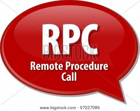 Speech bubble illustration of information technology acronym abbreviation term definition RPC Remote Procedure Call