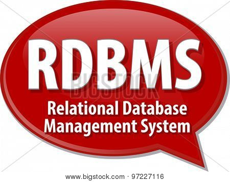 Speech bubble illustration of information technology acronym abbreviation term definition RDBMS Relational Database Management System