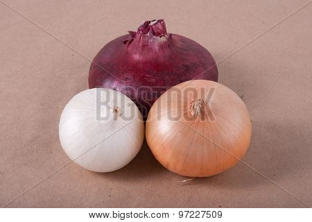 Red, Yellow And White Onions On A Parchment