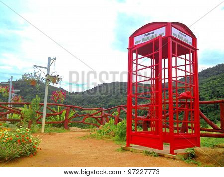 Phone booth on the mountain