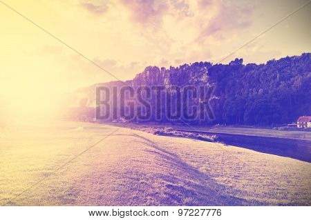 Vintage Filtered Nature Background By Sunset.