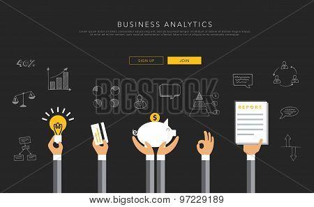Business analytics flat template, vector