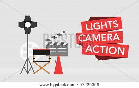cinema flat template background vector