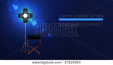 cinema template background vector on blue