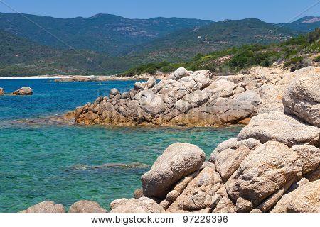 Corsica Island, Wild Coastal Landscape With Stone