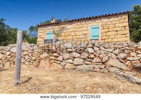 South Corsica, Rural Landscape With Old Typically House