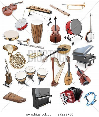 Set Of Musical Instruments On A White Background