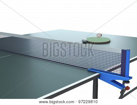 Table Tennis With Racket On The Table