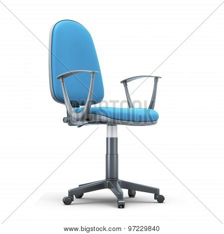 Office Chair With A Blue Trim On A White Background
