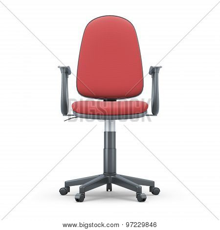 Office Chair With Red Upholstery On A White Background