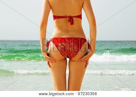 Woman In A Red Bikini, Sea As A Background