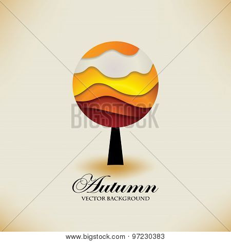 Stylized origami autumn tree